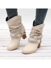 Rhinestone Decor Chunky Heeled Boots For Women