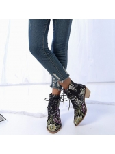 Point Toe Flower Embroidered Lace Up Ankle Boots