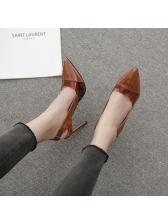 Pointed Patchwork Lady Style Slip On Heels