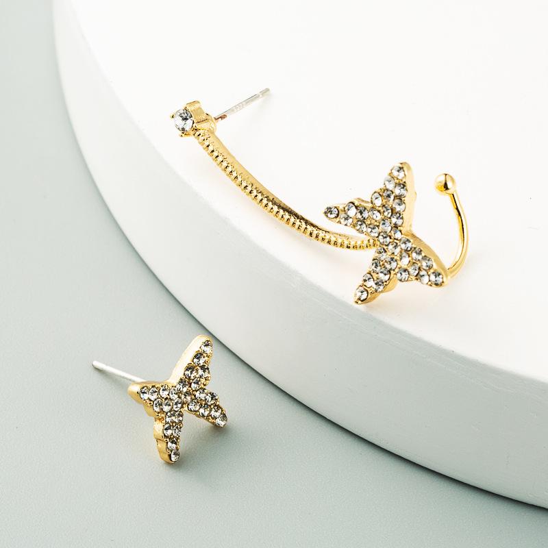 Fresh Rhinestone Butterfly Asymmetric Earrings For Women