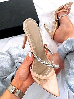 Pointed Rhinestone Stiletto Heeled Slippers