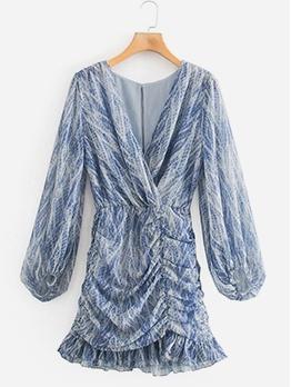 Snake Skin Printed Ruched Long Sleeve Dress