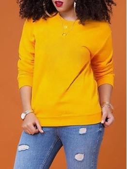 Hot Sale Pure Crew Neck Sweatshirts For Women