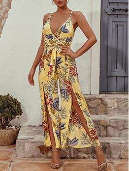 Elegant Beach Printed Slip Jumpsuits For Women