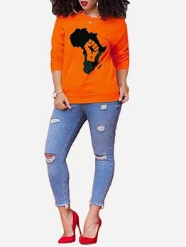 Euro Style Printed Long Sleeve Casual Women Sweatshirt