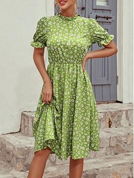 Retro Printed Women Short Sleeve Dress