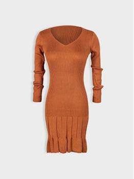 V Neck Pleated Hem Solid Color Long Sleeve Dress