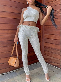 One Shoulder Casual Two Piece Pants Set