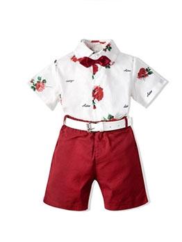 Summer Print Short Sleeve Shirt With Boys Shorts