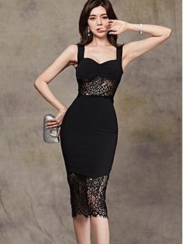 Seductive Lace Patchwork Sleeveless Bodycon Dress
