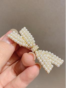 Faux Pearls Bowknot Sweet Style Women Hair Clip