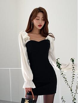 Korean Style Contrast Color Patchwork Ladies Dress