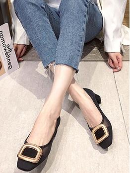 Square Toe Gauze Chunky Heel Womens Flats