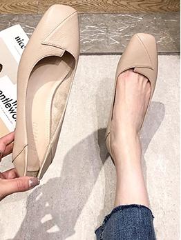 Versatile Solid Chunky Heel Comfortable Flats