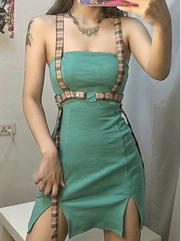 Summer Strapless Split Skinny Dresses With Removable Belt
