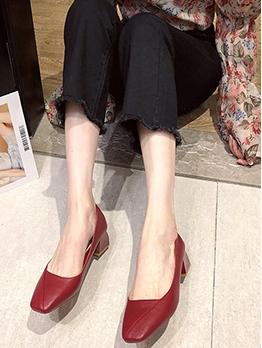 Casual Chunky Heel Womens Flats