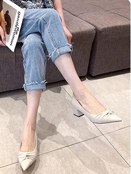 OL Style Mid Heel Pointed Toe Flats