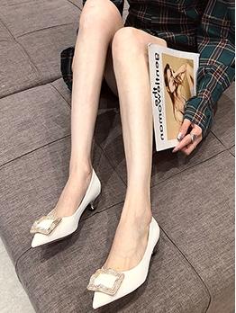 Metal Buckle Decor Pointed Toe Heels