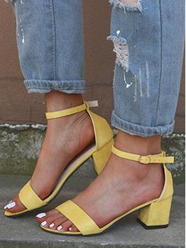 Round Toe Chunky Heel Ladies Sandal