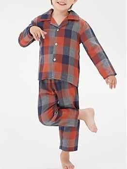 Casual Plaid Long Sleeve Pyjamas Set For Boys