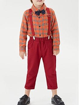 Orange Plaid Long Sleeve Shirts Set For Boys