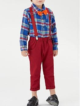 Long Sleeve Plaid Shirt Suspenders Pants Set