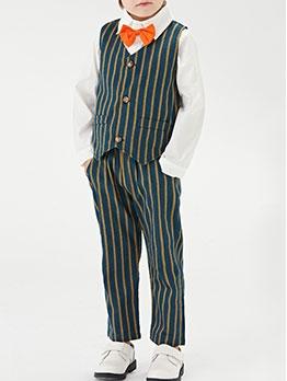 Green Striped Long Sleeve Three Piece Boys Set