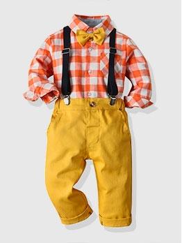2020 Little Boy Suit Long Sleeve Plaid Shirt