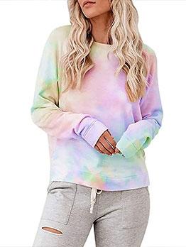 Tie Dye Women Casual Pullover Sweatshirt