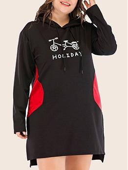 Easy Match Bike Pattern Long Sleeve Hooded Dress