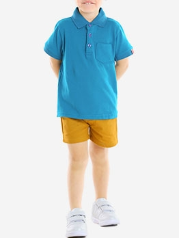 Simple Style Short Sleeve Polo Shirts Set For Boys