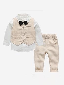 Plaid Long Sleeve Three Piece Little Boys Suit
