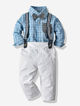 Hot Sale Blue Plaid Boys Suspenders Set Casual