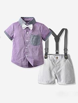 Gentlemanly Style Short Sleeve Boys Set
