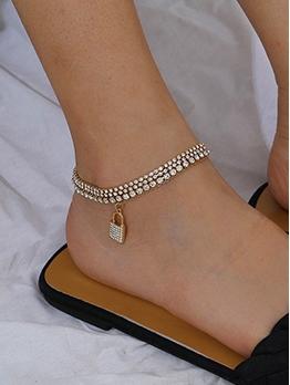 Personality Rhinestone Lock Shape Pendant Women Anklet