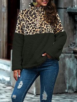 Leopard Patchwork Long Sleeve Sweatshirt