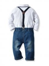 Plaid Pockets Long Sleeve Denim Pants Set Casual
