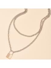 Lock Pendant Double Layer Women Chain Necklace