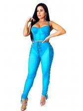Gauze Patchwork Lace Up Two Piece Pants Set