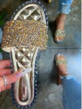Glitter Sequins Flat Open Toe Slippers