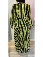 Casual V Neck Tie-Wrap Letter Maxi Dresses