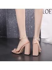 Square Toe Chunky Women Heeled Sandals