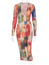 Space Pattern Print V Neck Women Dress