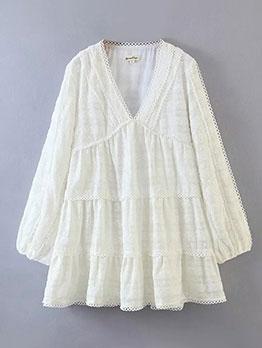 Boutique V Neck Hollow Out Long Sleeve Short Dress