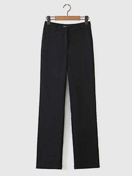 High Waist Straight Casual Black Pants