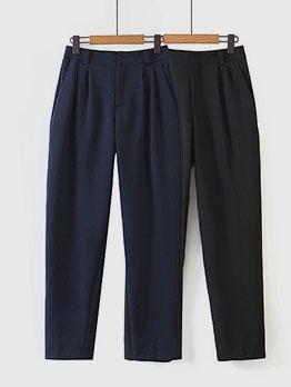 Straight Loose High Waist Black Casual Pants