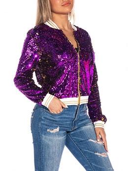Fashion Sequined Leisure Long Sleeve Coat