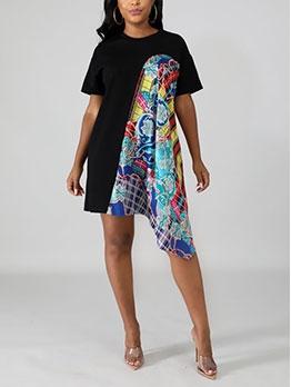 Attractive Design Print Matching T-Shirt Dresses