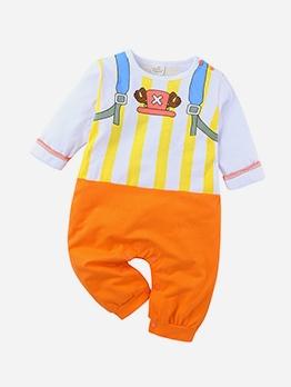 Cartoon Bag Print Baby Long Sleeve Rompers