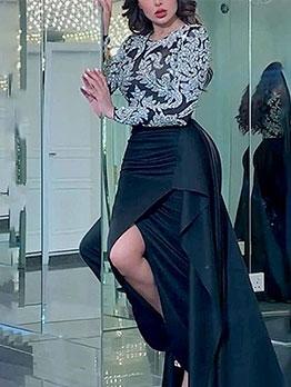 Sequins Patchwork Long Sleeve Formal Dresses